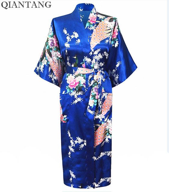 Blue Female Faux Silk Robe Mujer Pijama China Style Ladies' Sleepwear Kimono Summer Bath Gown Plus Size S M L XL XXL XXXL S0031