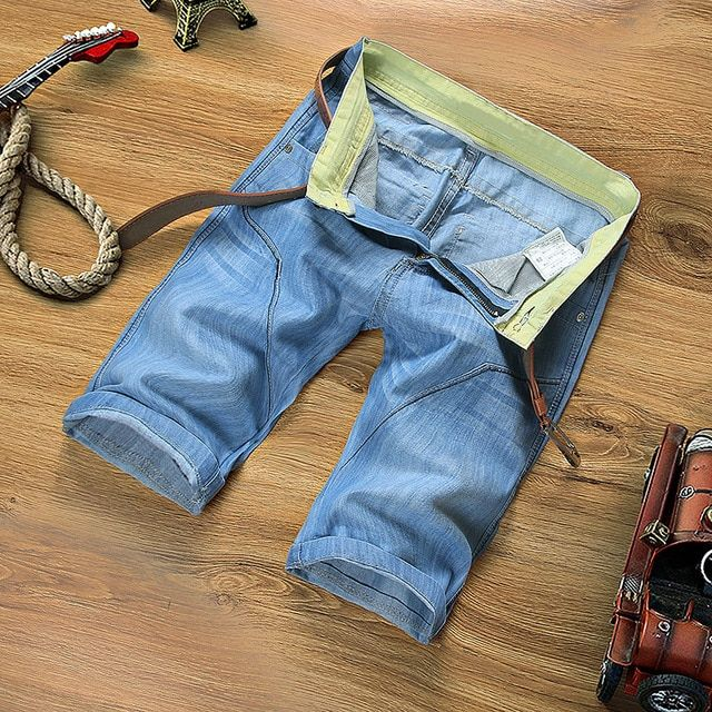 Teen summer section men's denim shorts Slim beach breeches male tide Solid color large size denim shorts