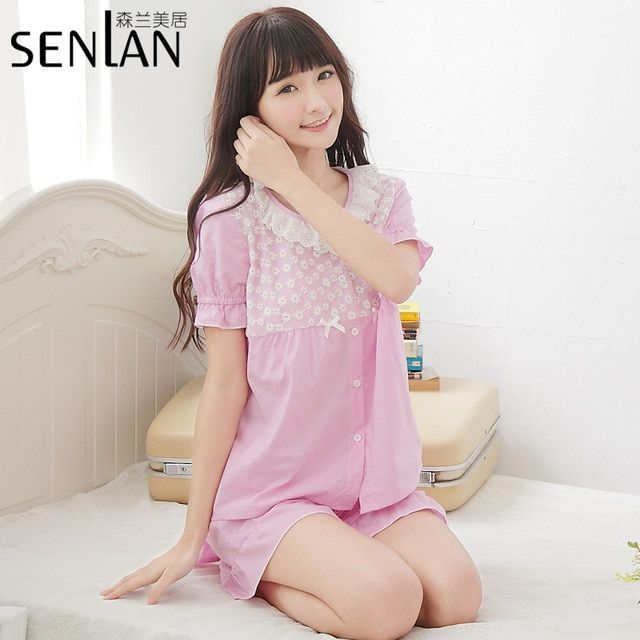 2017 New Lady's Cotton Short Sleeve Pajamas Sweet Pink/Blue Sleepwear Lace Lounge Wear for Girl