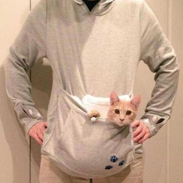 Japanese Big Pocket Grey Cat Dog Pet Casual Hoodie Sweatshirts Hoodie With Ears Neko Atsume Clothes Big Size 4XL