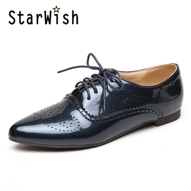 Plus Size 32-46 Women's Oxfods Shoes Fashion Lace-Up Pointed Toe Flats Casual Woman Shoes Patent Black White Blue Brogues Shoes