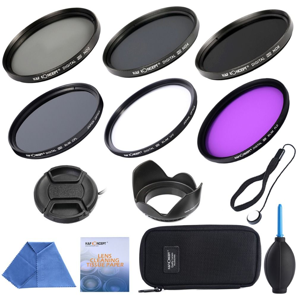 67mm UV CPL FLD+ ND2 ND4 ND8+Cleaning kits+ pouch bag Filter Kit Lens Filter Kit for Nikon D7100 D7000 D3100 D3000 Dslr Camera