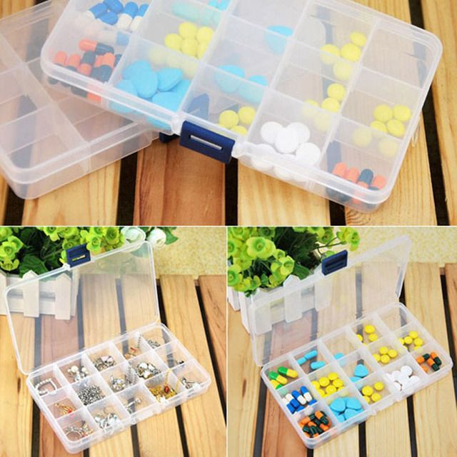 Grids Detachable Plastic Storage Box 15 Compartment Rhinestone Nail Art Tool Case Bead Rings Jewelry Display Organizer