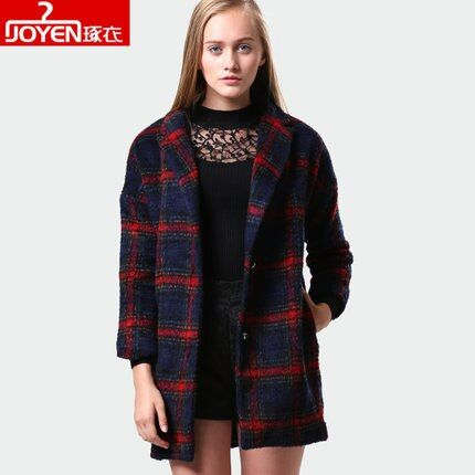 2017Girls Long Section Of Loose Plaid Wool Coat 2015 Winter New high-end Temperament Woolen Coat