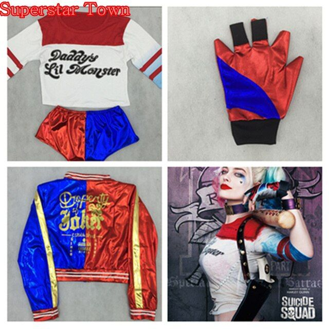 New Cosplay Batman Harley Quinn Guantes Jacket Tops Gloves Pant Harley quinn Costume Clothes Superstar Town