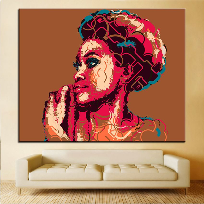 Large size Printing Oil Painting african woman portrait Wall painting Decor Wall Art Picture For Living Room painting No Frame