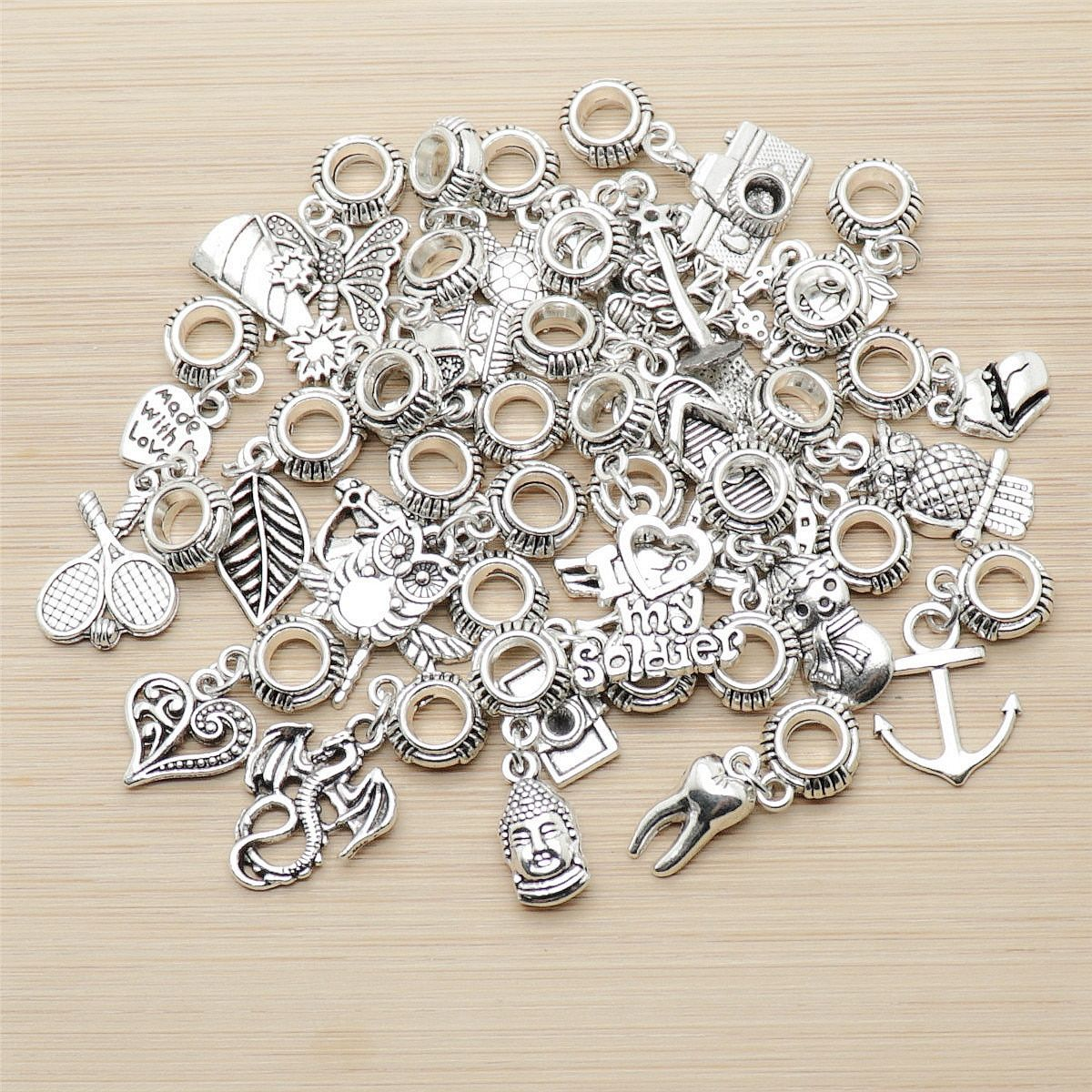 Random mix 30pcs Ancient silver Big hole loose beads fit Pandora charm bracelet DIY pendant jewelry making