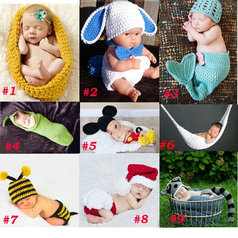 Baby Newborn Photography Props Costume Toddler Animal Beanie with Diaper Cover Cocoon Handmade Knitted Hat 0-3M SG041