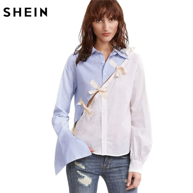 SHEIN Women Shirts Ladies Tops Long Sleeve Shirt White and Blue Color Block Women Contrast Bow Detail Split Blouse