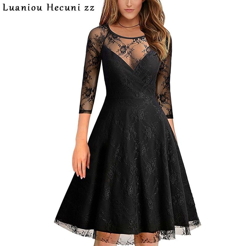 Chu Ni Elegant Women Lace See Through Evening Party Dress Autumn Sexy Black Mesh 3/4 Sleeve A Line Pleated Dresses Femme M008