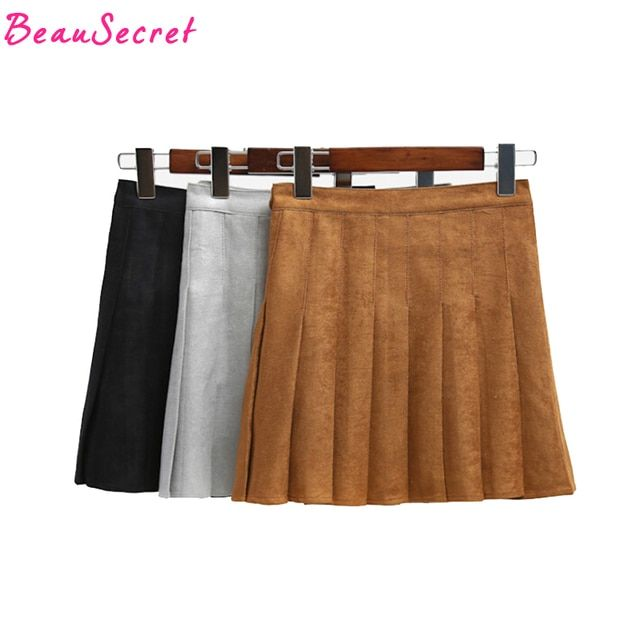 Preppy style autumn winter fashion pleated suede skirt women high waist sexy mini skirts black red gary khaki