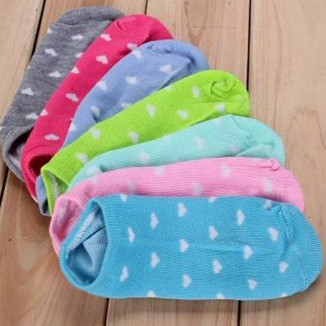 Top Sale Items 5 Pairs Women Girls Casual Cotton Socks Heart Ankle Low Cut soft Socks