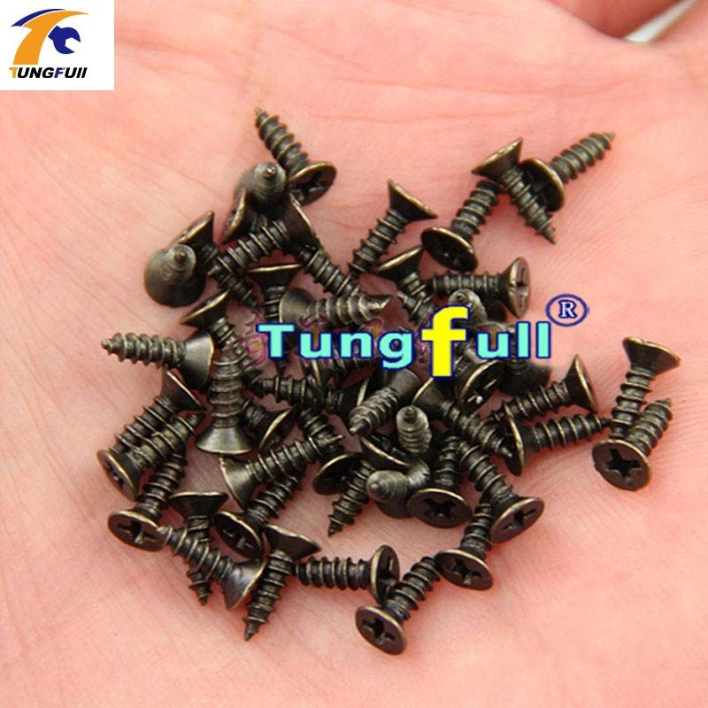 TUNGFULL High Quality Green Bronze Self-Tapping Screws M2 M2.5 Small Hinge Dedicated Antique Phillips Screws Woodworking Tool