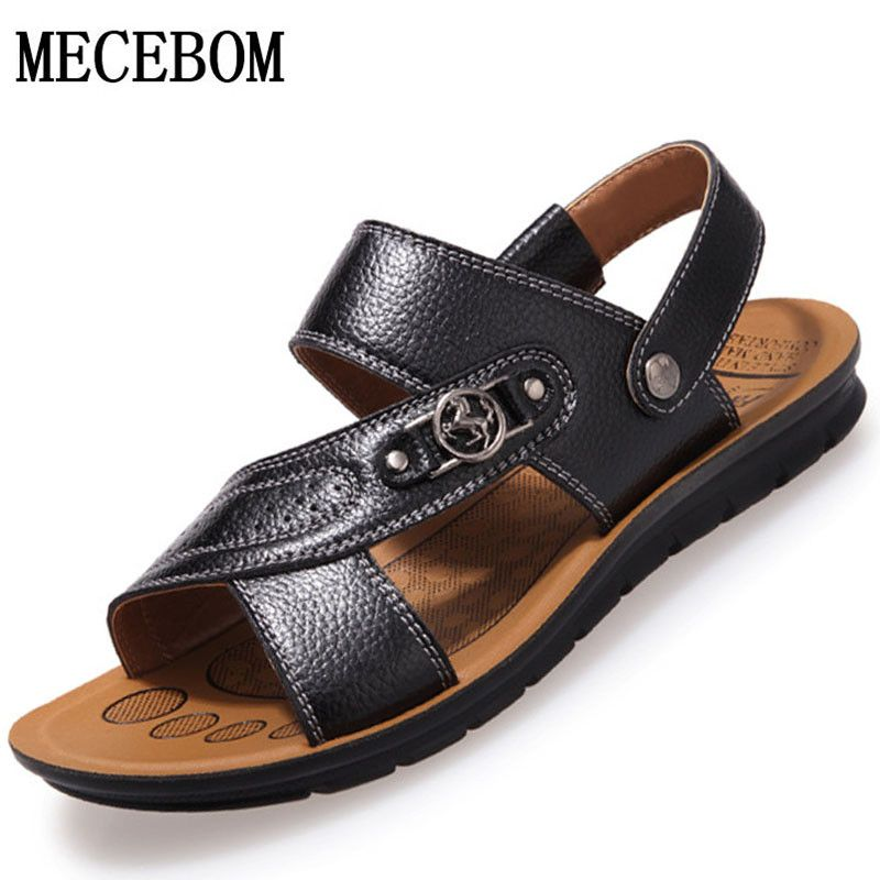 New summer Genuine leather men's sandals walking male fashion beach flip flops Casual runing leather slippers sport