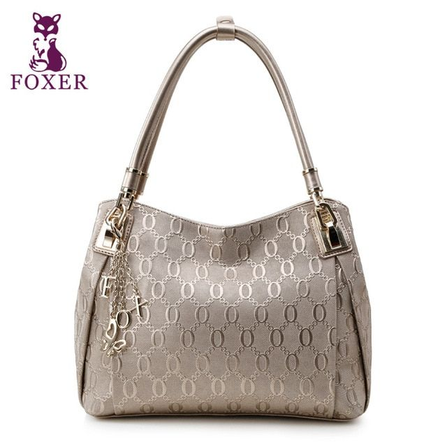 FOXER Brand Design Women's Leather Handbag Bag Lady Chain lines Shoulder & Crossbody bags