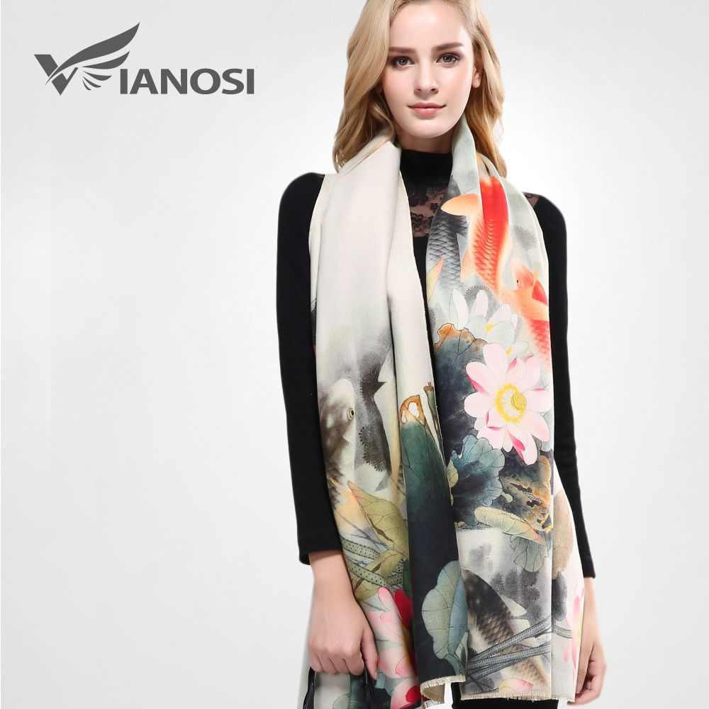 [VIANOSI] Luxury Scarf Women Wool Cashmere Shawls and Scarves Thicken Warm Wrap Digital Printing Winter Scarf Woman VA060