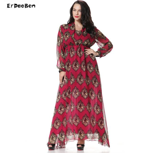 New Plus Size M 6XL Casual Fashion Printed Long Women Dress full Sleeve Bohemian A line Chiffon Dresses XXXXXXL Vestidos