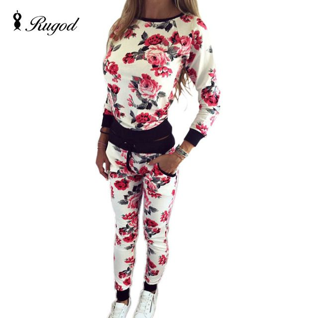 2017 Hot Sale Sweatshirt Floral Print Tracksuit Womens Autumn O-Neck Pullover Tops + Long Pants 2 Piece Set Women Sportswear