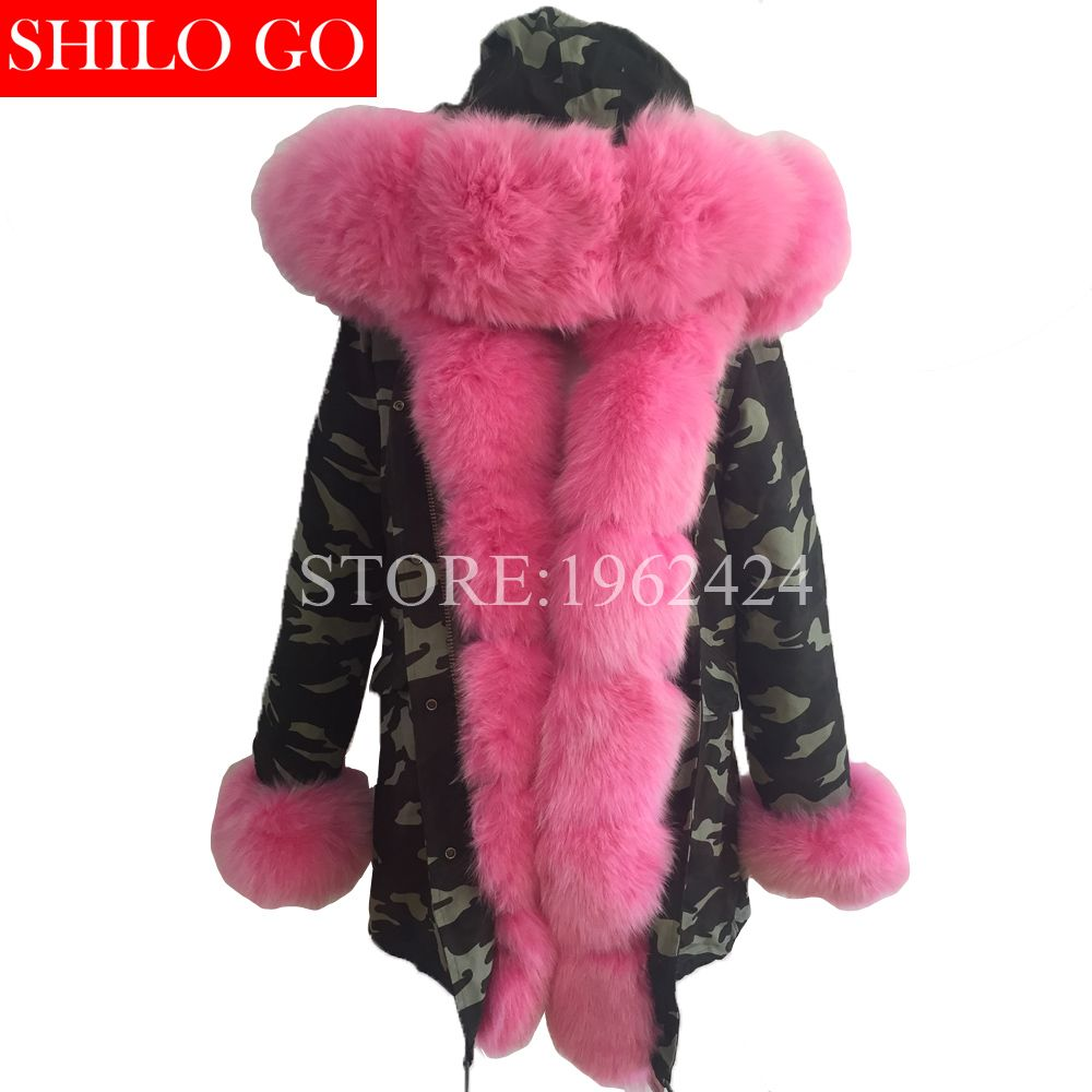 Plus size new long Camouflage winter jacket women outwear thick parkas natural real fox fur collar coat hooded pelliccia
