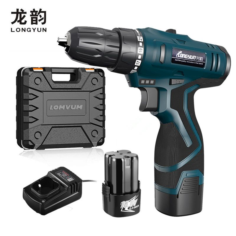 LONGYUN Rechargeable Lithium Battery Cordless home 25V Electric Drill bit wall 16.8V Electric Screwdriver with Plastic case