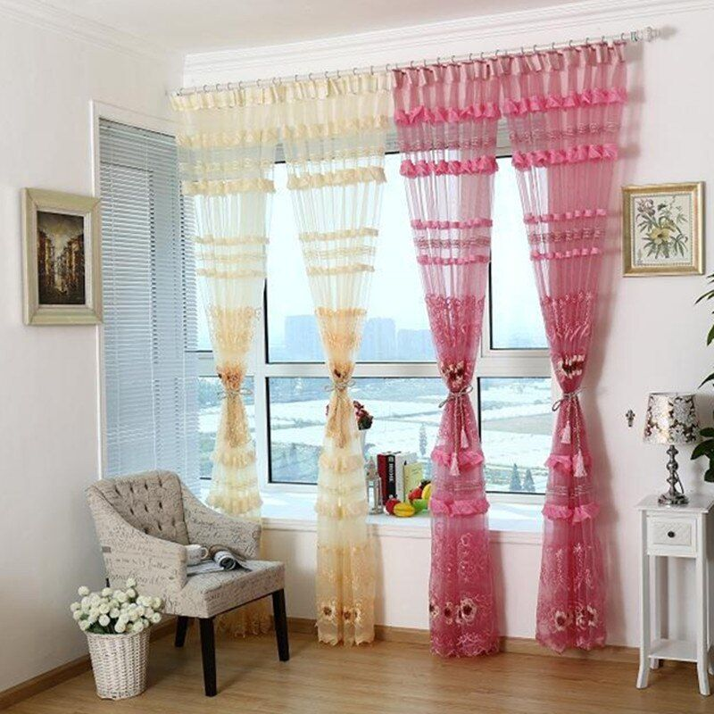 3D style jacquard design home decoration modern curtain tulle fabrics organza sheer panel window. 1pcs/lot