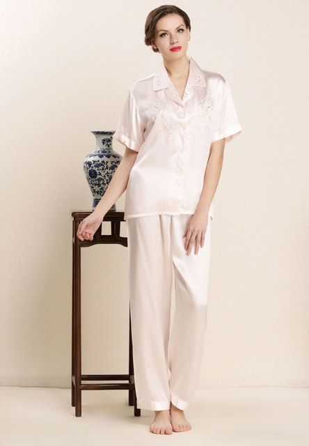 2017 100% Real Silk Sleepwear Sets for Ladies Shirt + Pant 2pcs Womens Nightwear Embroidery Design Solid Pajamas LX80029