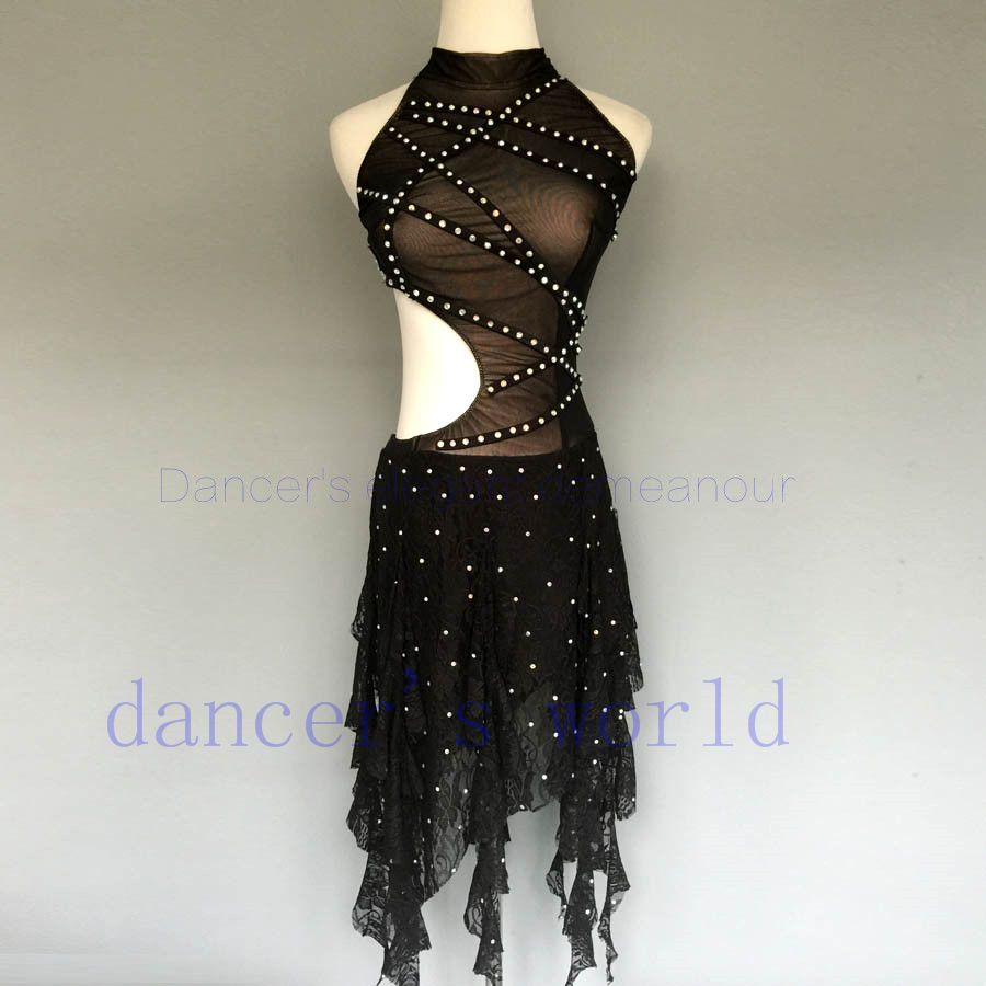 New style latin dance costume sexy gauze stones latin dance dress for women latin dance competition dresses