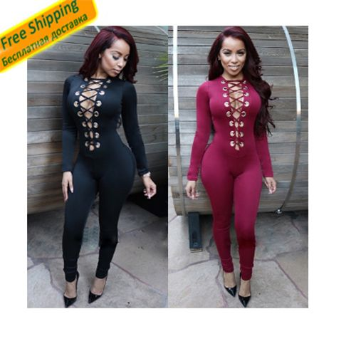 womens jumpsuits sexy bodycon fitness romper bodysuits deep v neck combinaison femme stretch long pants long sleeve black red