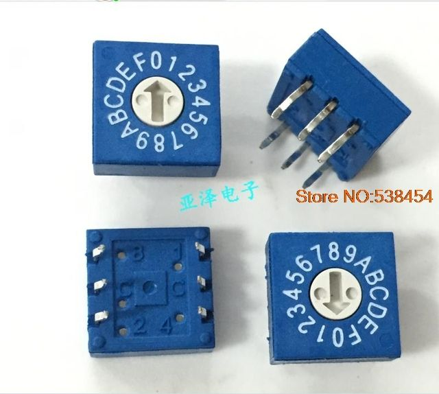 4PCS 0-F Rotary Code Switch DIP Switch 16-Bit PCB Code Switch 8421C Positive Code 3: 3