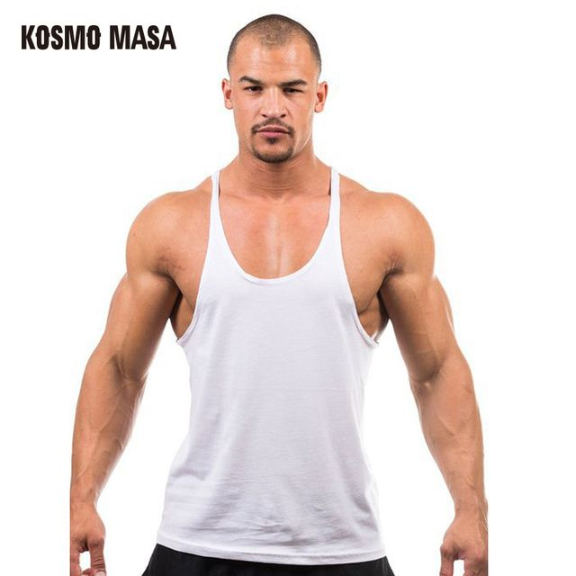 KOSMO MASA 2017 Men Cotton Shark Bodybuilding Stringers Tank Tops Fitness Muscle Golds Vest 7 Colors Tank Top Retail MC0013