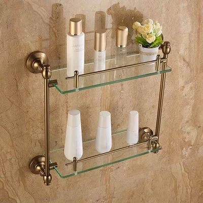 Double Bathroom Shelf/Glass Shelf,Aluminum Made Base+Glass Shelf,Bathroom Hardware,Bathroom Accessories Free Shipping MJ-7016