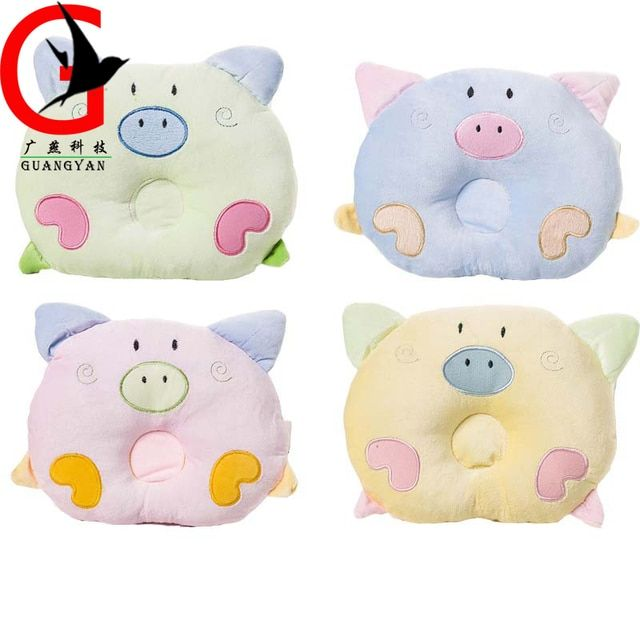 newborn Sleep Head Positioner Neonatal cartoon comfortable cotton pillow Cartoon pig Toddler baby anti-migraine pillowSLDZ-2043