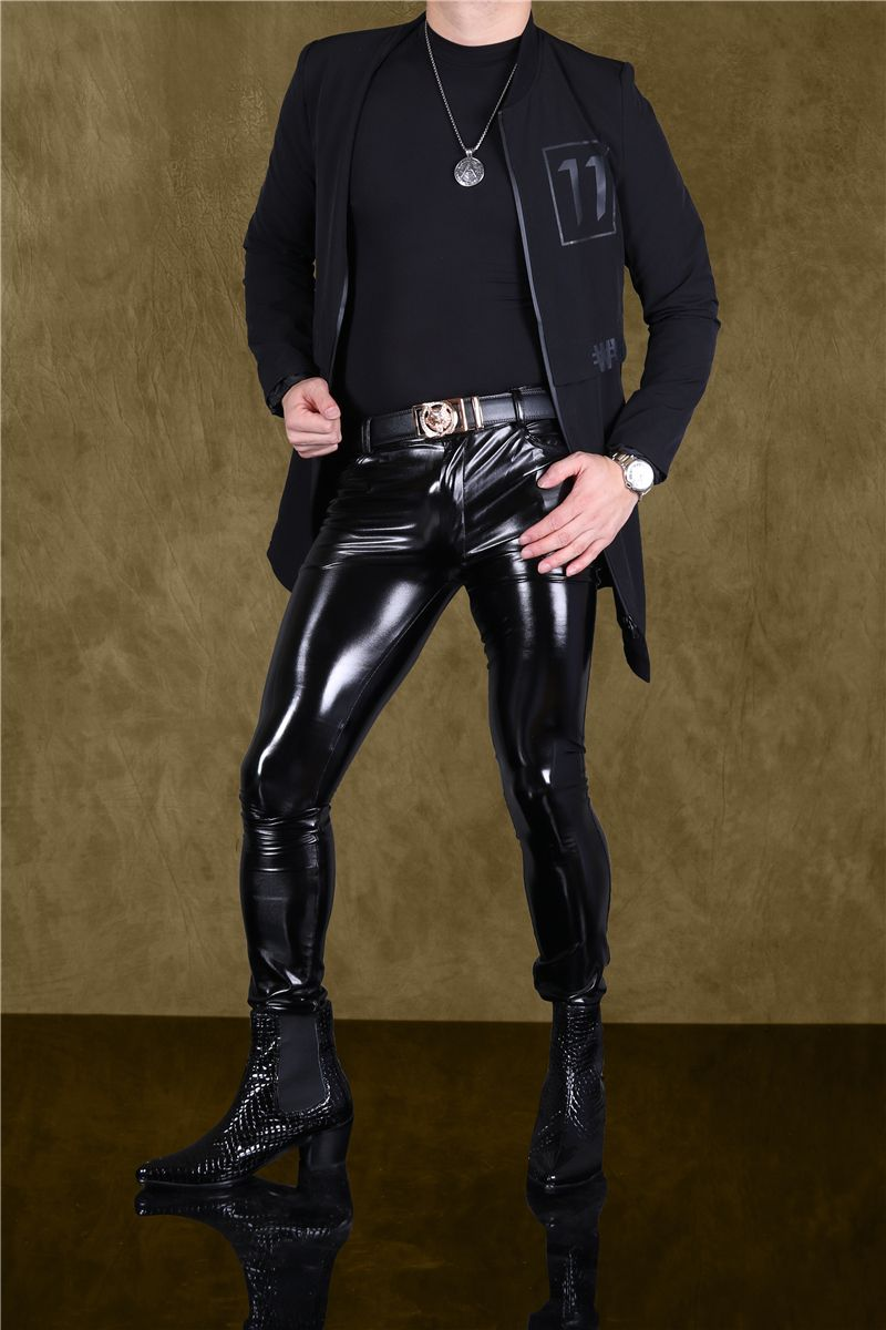 Men Sexy Pants Slim Fit Trousers Elastic Tight Shining Stylish