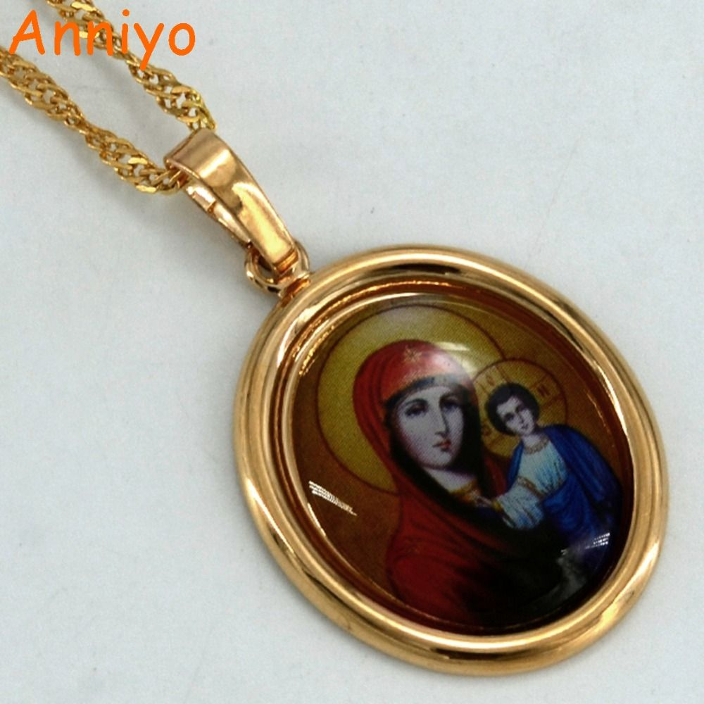 Anniyo Russia Mary & Jesus Necklaces for Women Gold Color Our Lady holding the Infant Jesus Pendant Religion Jewelry #043604