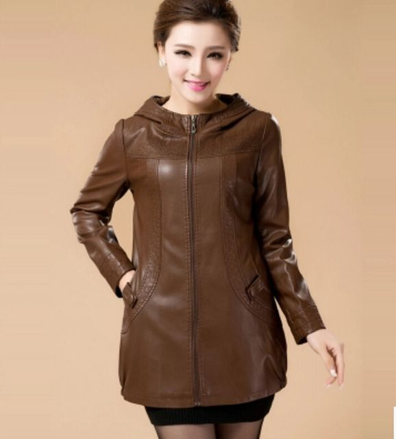 Plus Size Leather Coat Women Spring 2017 New With a hood Female Leather Clothing Long Slim Leather Jacket Women Outerwear Black