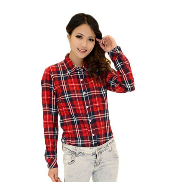 S-XXL 2015 New Fashion Womens Tops Casual Blouse Turndown Collar Long Sleeve Plaids Shirt Free Shipping