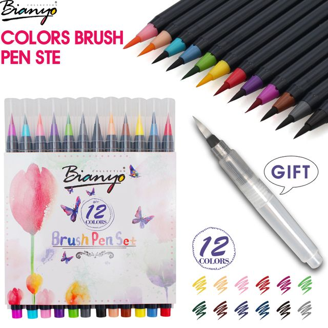 Bianyo 12Colors Soft Brush Calligraphy Pen Watercolor Marker Brush Fineliner Art Markers for Sketch Manga Graphic Drawing