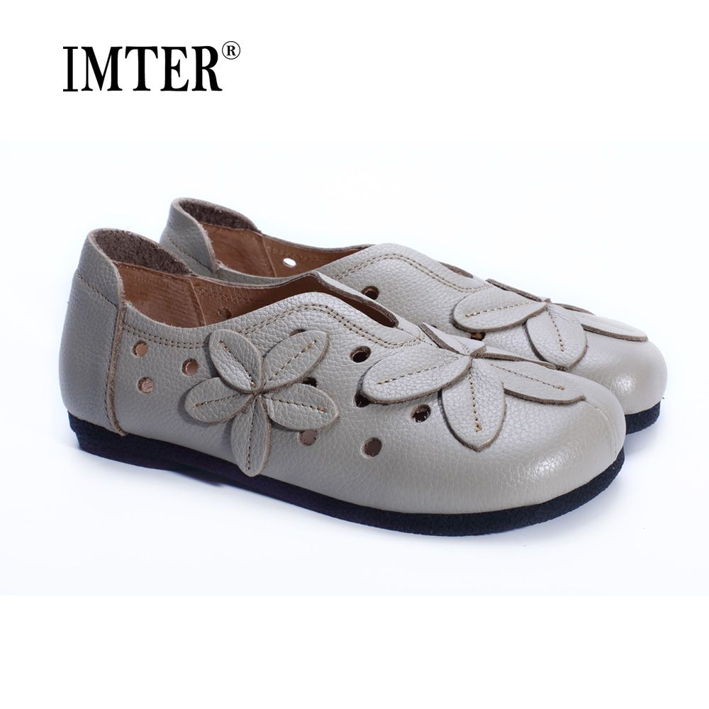 Women's Shoes Flat Hollow out Summer Shoes 100% Genuine Leather Square Toe Slip on Flat Shoes Casual Female Footwear (1688-4)