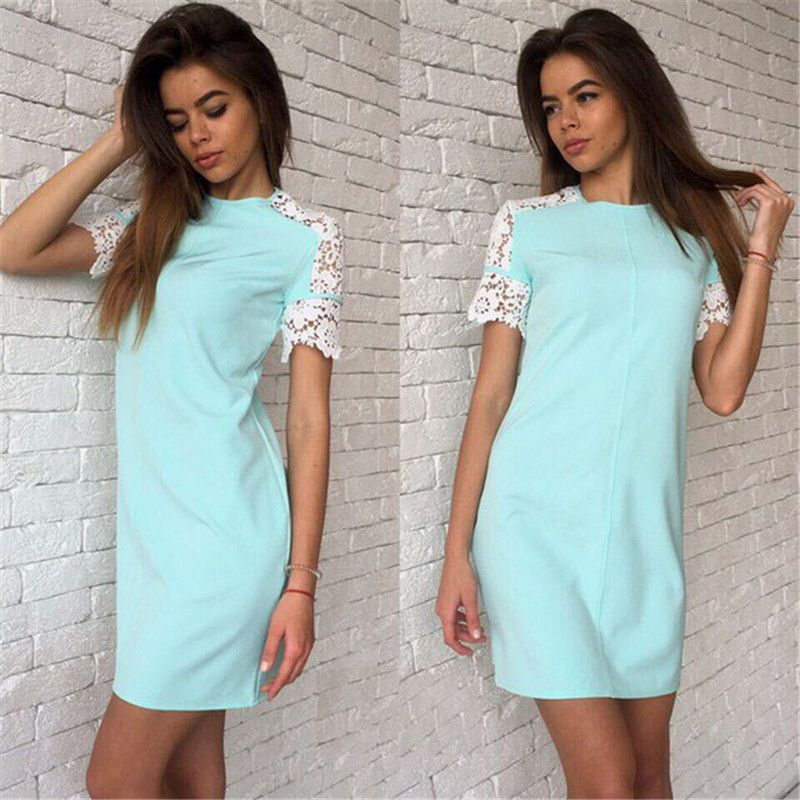 2016 Fashion Summer Women Lace sleeve Dresses White&Pink&Bule 3 Colour O-Neck Casual Party Dress Vestidos