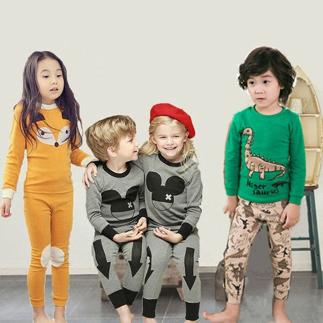 2017 New kids clothes sets Korean Style Children Cartoon Cotton Pajamas baby Boys Girls Totoro O-neck Pullover Unisex Pijama
