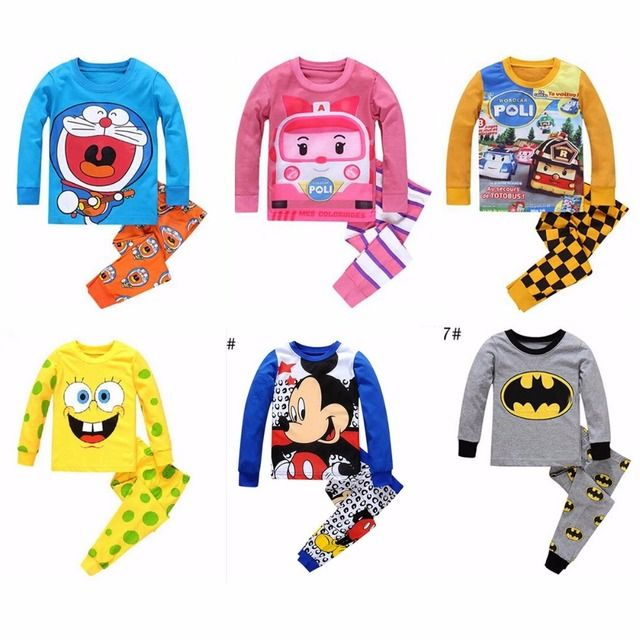 New Spring Autumn Children Long Sleeve Sleepwear Girls Boys Cotton Night Suit PJS Pajamas Sets Kids cartoon Pyjamas Pijamas Sets