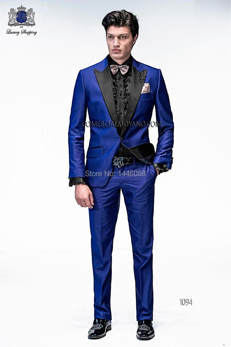 2017 Italian Mens Suits Royal Blue Wedding Tuxedos Jacket+Pants+Tie Groom Tuxedos Men Wedding Suits Groomsmen Prom Suits