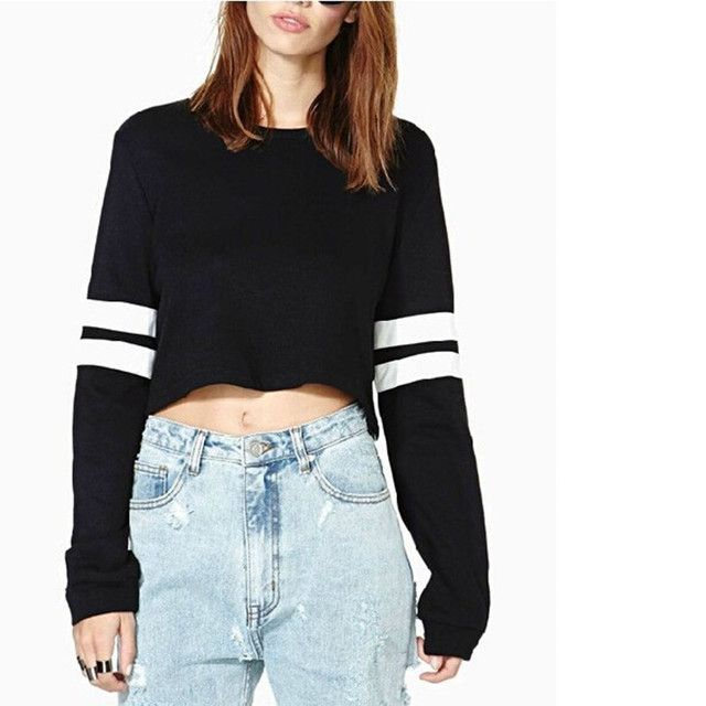 2016 Hot New Harajuku Women Fashion Crop Tops PU Leather Patchwork Long Sleeve Casual Loose Pullover short Sweatshirt D725