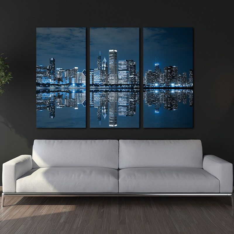 Blue Cool Buildings In Dark Color In Chicago Wall Art Painting The Picture Print On Canvas City Pictures For Home Decor
