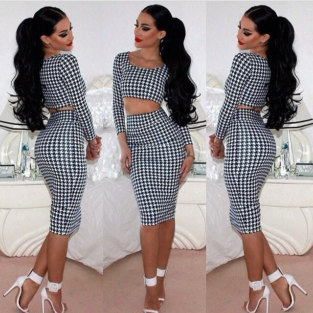 2017 Women Fashion Sexy Summer Style Club Party Two Pieces Set Crop Top and Skirt Set Pleated Printing 2 Piece Set Women