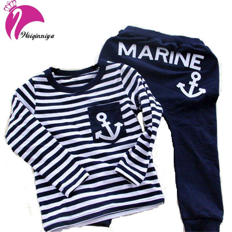 New 2016 Spring Kids Clothes Navy Long- Sleeved Pullover Striped Sports Suit Children Boys Clothing Cotton Set Tracksuits