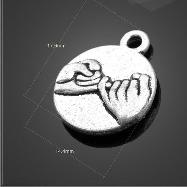 High quality 20 PCS/Lot 14.4mm*17.6mm antique silver small round hand by hand love promise mom charms