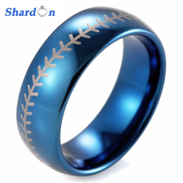 SHARDON 8mm Blue Dome Tungsten Carbide Baseball Stitch design ring with white style laser men's wedding band 8mm free shipping