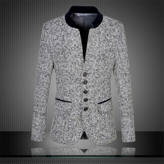Winter Autumn Men Suit  Wool Cotton Thicken Casual Stand Collar Male Blazer Americal Korea Style Big Size M-4XL 5XL 6XL A0530
