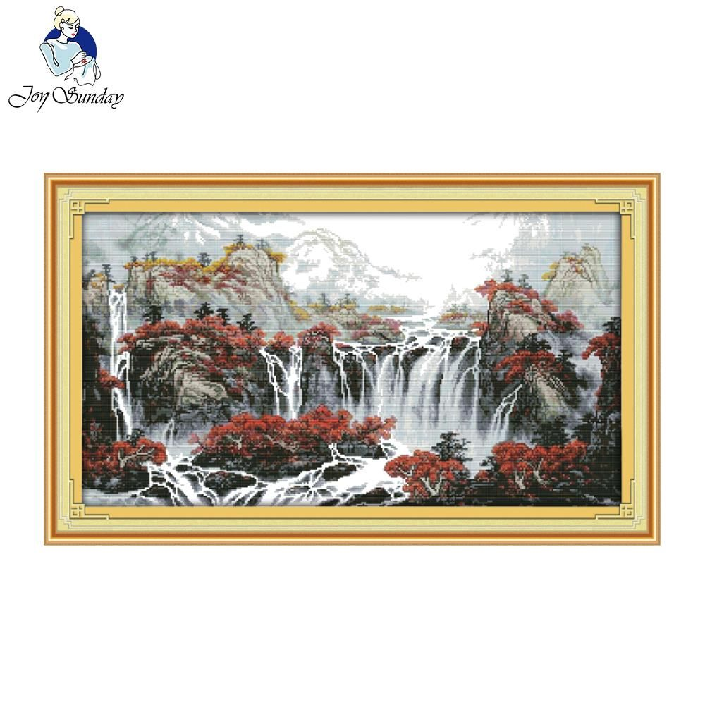 Joy Sunday Autumn Mountain With Fountain Counted Cross Stitch Cross Stitch Kit For Embroidery Home Decor Needlework Cross Stitch
